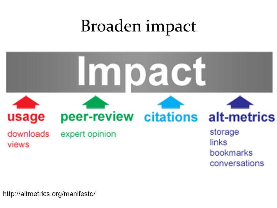 Broaden impact http://altmetrics.org/manifesto/