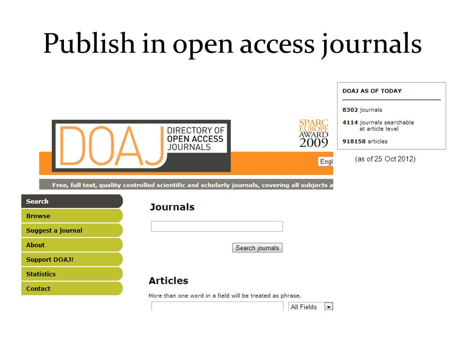 Publish in open access journals (as of 25 Oct 2012)