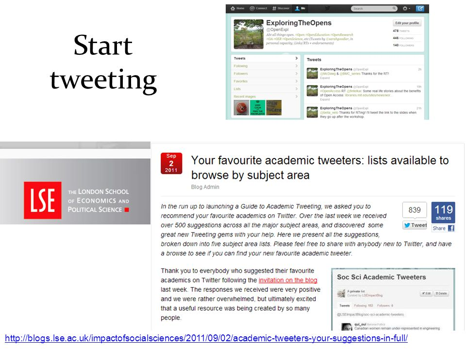 Start tweeting http://blogs.lse.ac.uk/impactofsocialsciences/2011/09/02/academic-tweeters-your-suggestions-in-full/