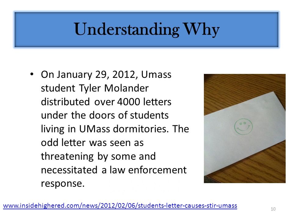 10 Understanding Why On January 29, 2012, Umass student Tyler Molander distributed over 4000 letters under the doors of students living in UMass dormitories.