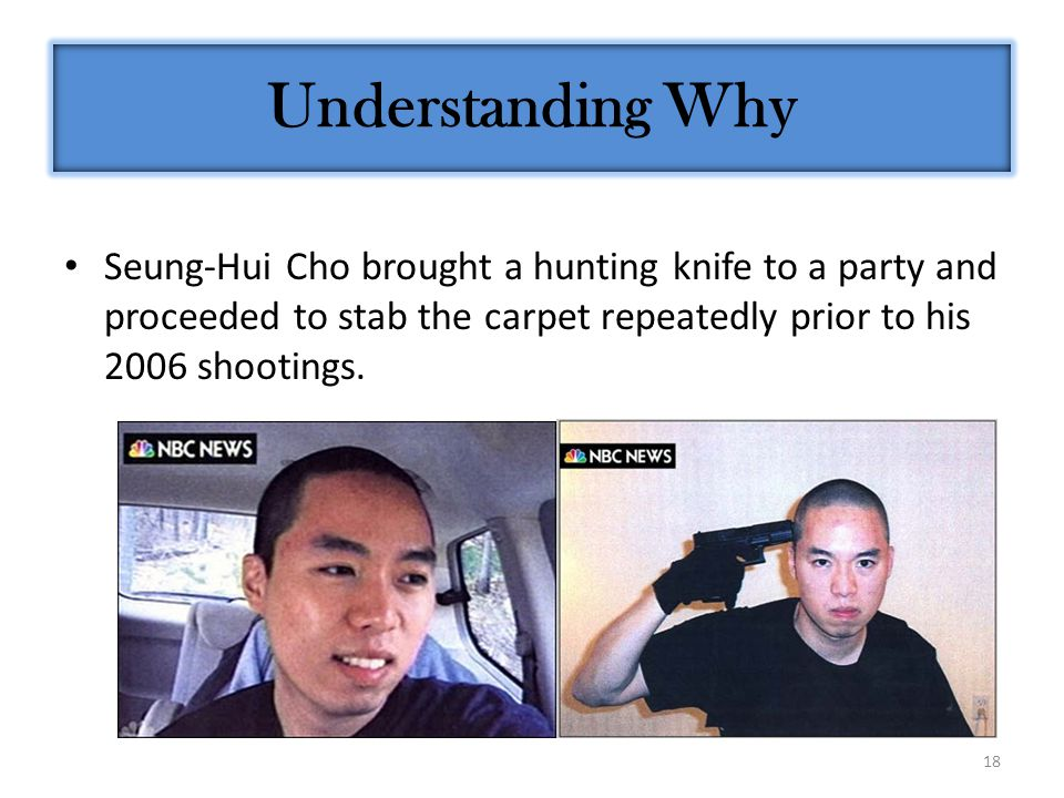 18 Seung-Hui Cho brought a hunting knife to a party and proceeded to stab the carpet repeatedly prior to his 2006 shootings. Understanding Why