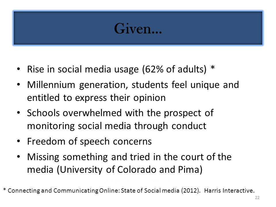 22 Rise in social media usage (62% of adults) * Millennium generation, students feel unique and entitled to express their opinion Schools overwhelmed with the prospect of monitoring social media through conduct Freedom of speech concerns Missing something and tried in the court of the media (University of Colorado and Pima) * Connecting and Communicating Online: State of Social media (2012).