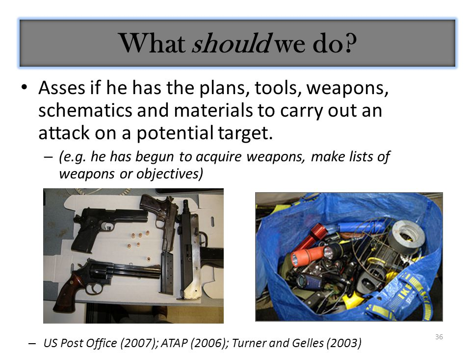 36 Asses if he has the plans, tools, weapons, schematics and materials to carry out an attack on a potential target.
