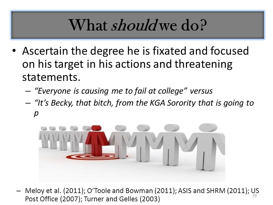 """39 Ascertain the degree he is fixated and focused on his target in his actions and threatening statements. – """"Everyone is causing me to fail at colleg"""
