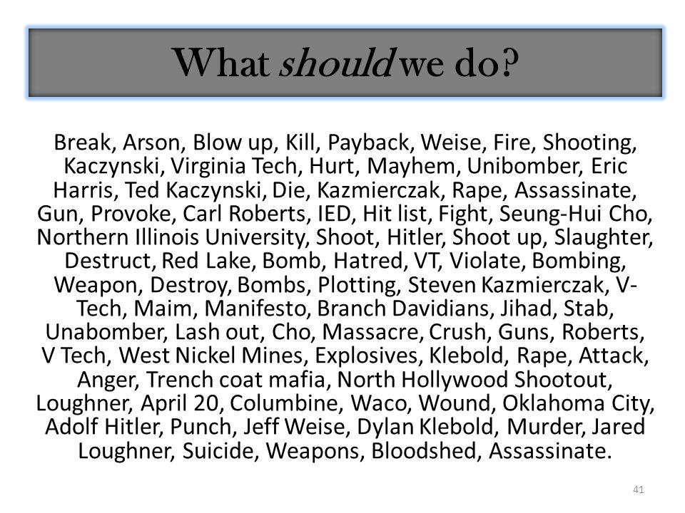 41 What should we do? Break, Arson, Blow up, Kill, Payback, Weise, Fire, Shooting, Kaczynski, Virginia Tech, Hurt, Mayhem, Unibomber, Eric Harris, Ted