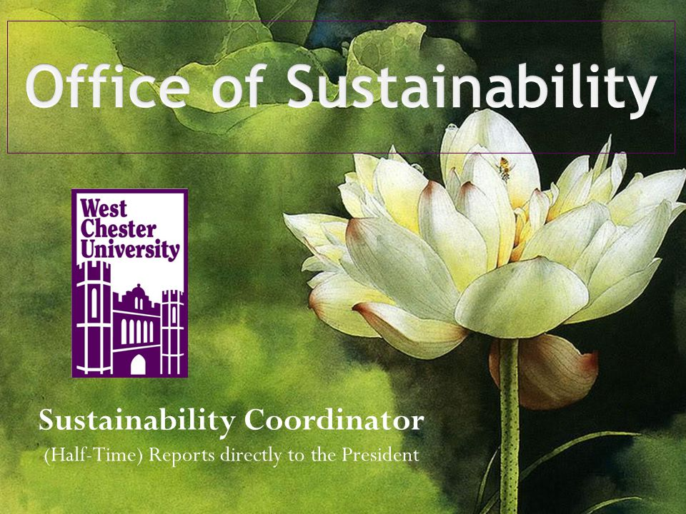 Sustainability Coordinator (Half-Time) Reports directly to the President