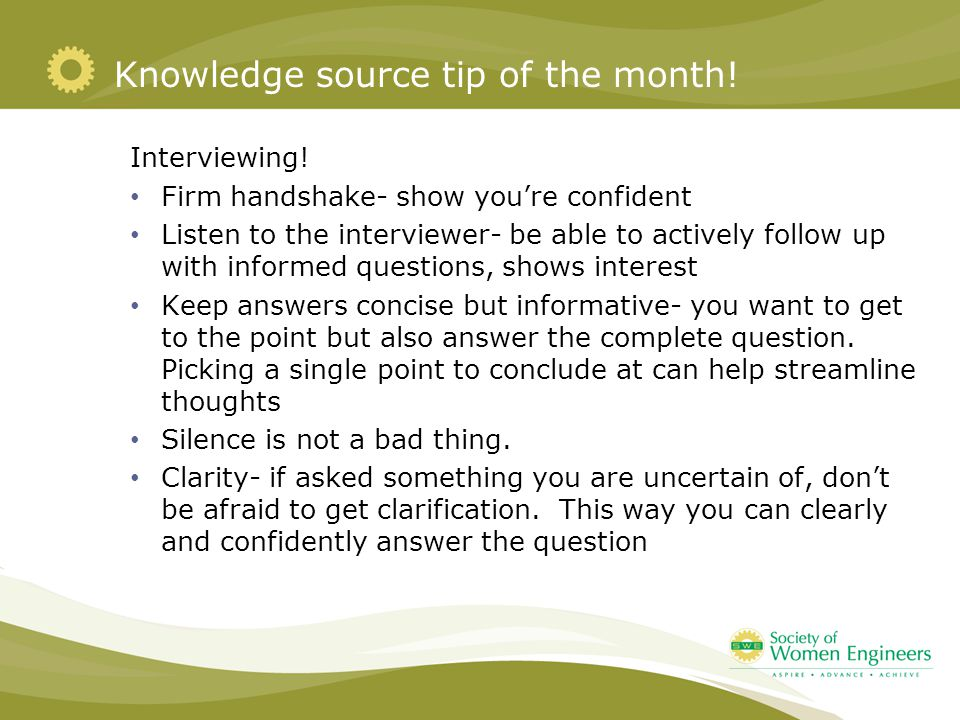 Knowledge source tip of the month. Interviewing.