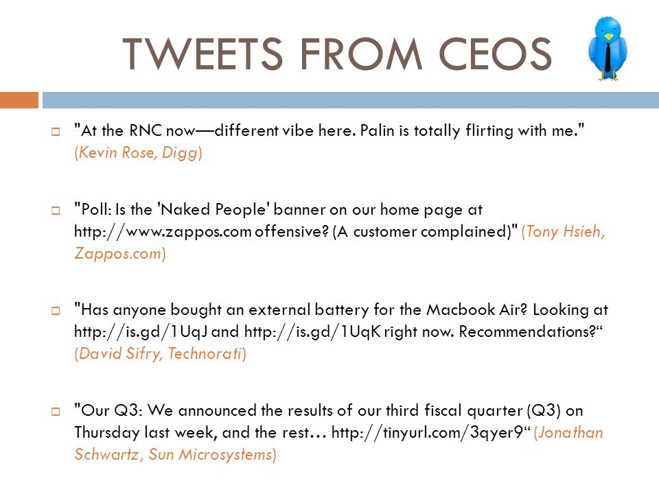 TWEETS FROM CEOS 