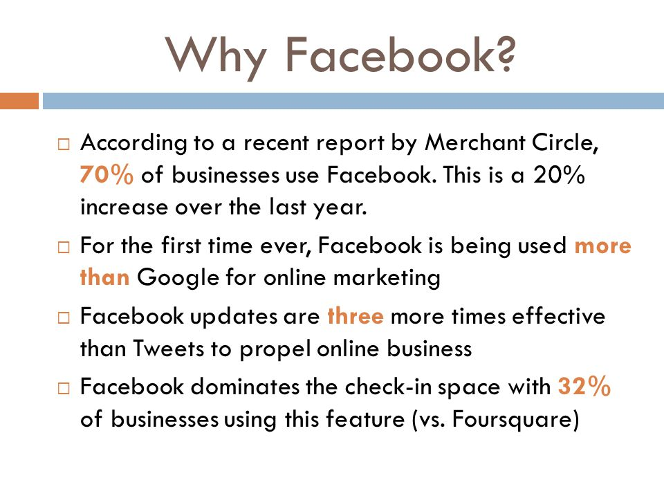Why Facebook?  According to a recent report by Merchant Circle, 70% of businesses use Facebook. This is a 20% increase over the last year.  For the