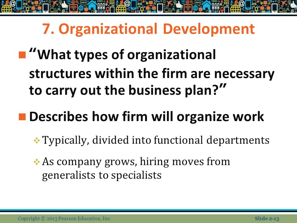 """7. Organizational Development """"What types of organizational structures within the firm are necessary to carry out the business plan?"""" Describes how fi"""