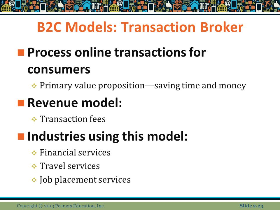 B2C Models: Transaction Broker Process online transactions for consumers  Primary value proposition—saving time and money Revenue model:  Transaction fees Industries using this model:  Financial services  Travel services  Job placement services Copyright © 2013 Pearson Education, Inc.Slide 2-23