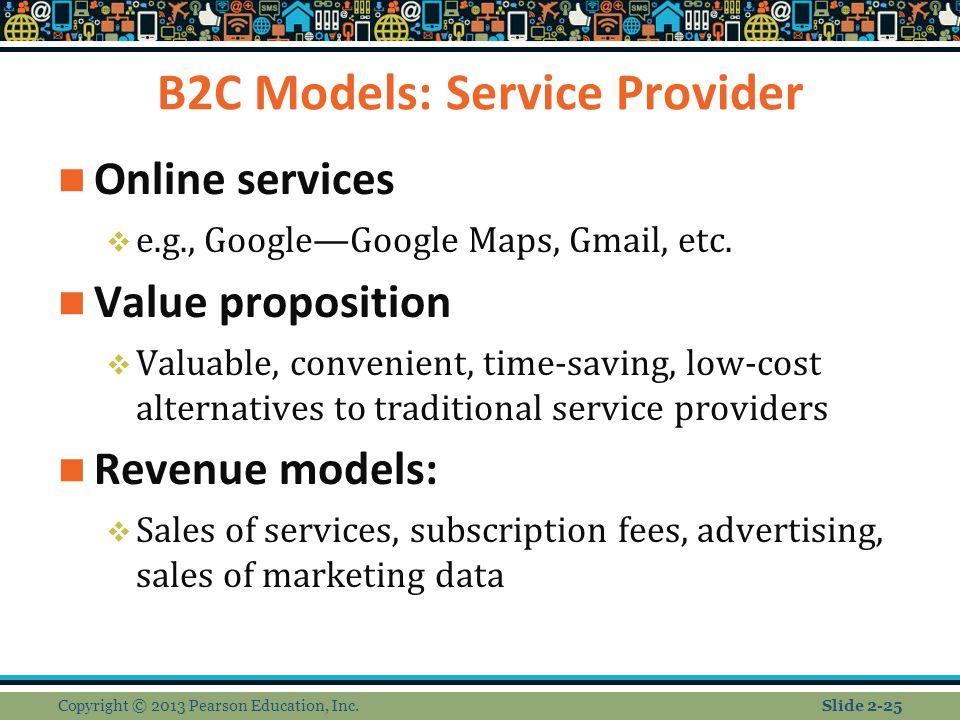 B2C Models: Service Provider Online services  e.g., Google—Google Maps, Gmail, etc.
