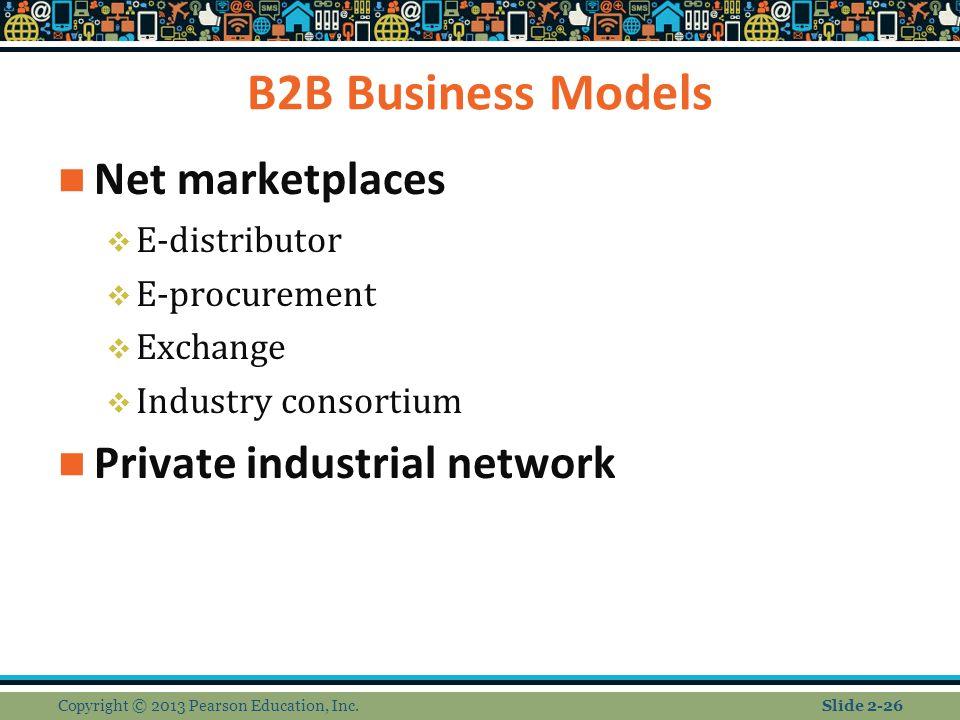 B2B Business Models Net marketplaces  E-distributor  E-procurement  Exchange  Industry consortium Private industrial network Copyright © 2013 Pearson Education, Inc.Slide 2-26
