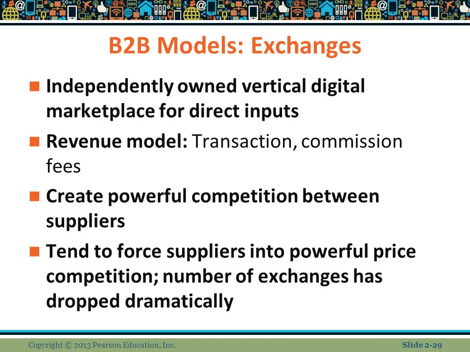 B2B Models: Exchanges Independently owned vertical digital marketplace for direct inputs Revenue model: Transaction, commission fees Create powerful competition between suppliers Tend to force suppliers into powerful price competition; number of exchanges has dropped dramatically Copyright © 2013 Pearson Education, Inc.Slide 2-29