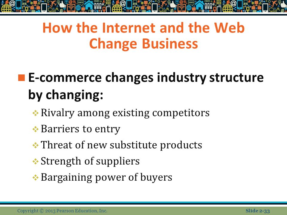How the Internet and the Web Change Business E-commerce changes industry structure by changing:  Rivalry among existing competitors  Barriers to entry  Threat of new substitute products  Strength of suppliers  Bargaining power of buyers Copyright © 2013 Pearson Education, Inc.Slide 2-33