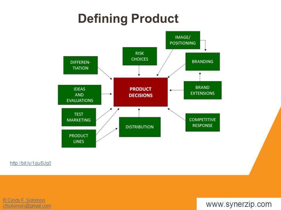 © Cindy F. Solomon cfsolomon@gmail.com http://bit.ly/1guBJg0 www.synerzip.com Defining Product
