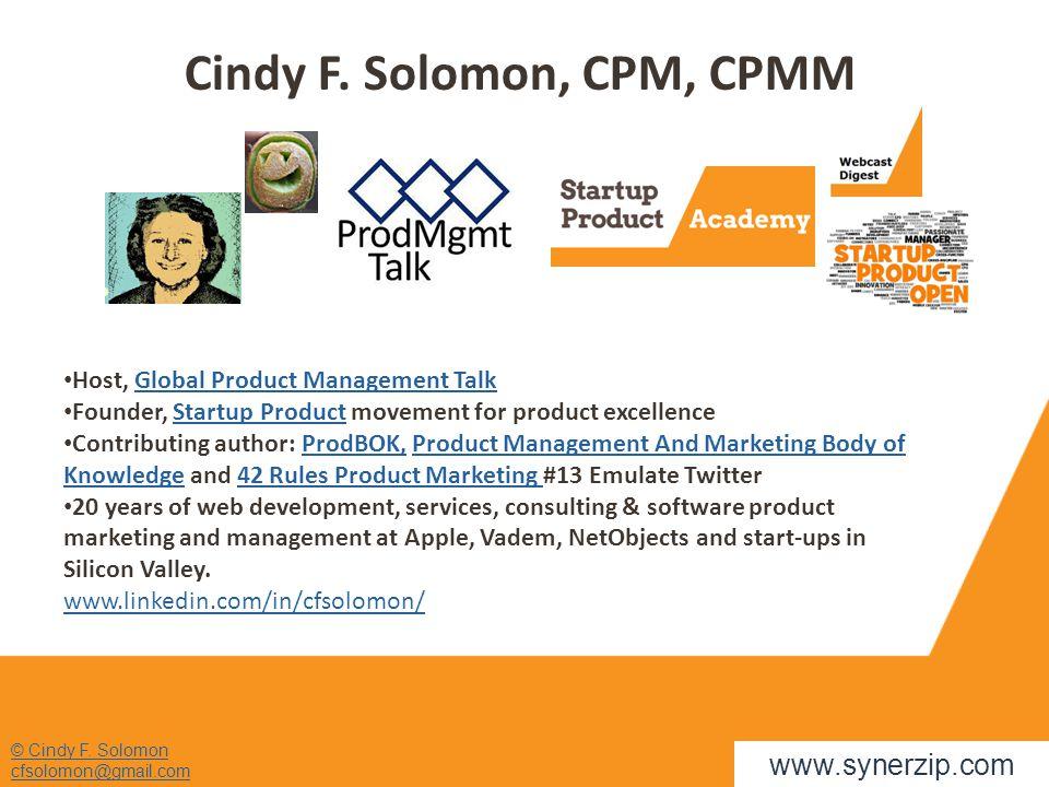 Cindy F. Solomon, CPM, CPMM © Cindy F.