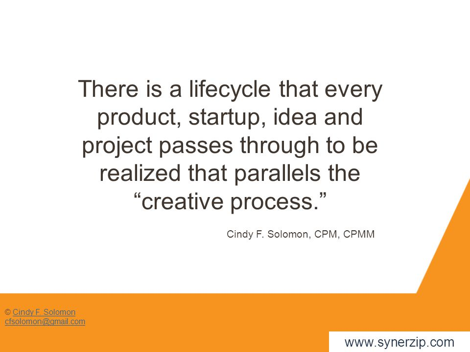 © Cindy F. SolomonCindy F. Solomon cfsolomon@gmail.com There is a lifecycle that every product, startup, idea and project passes through to be realize