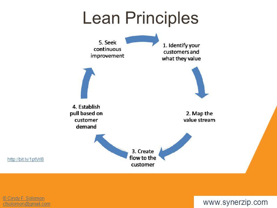 © Cindy F. Solomon cfsolomon@gmail.com www.synerzip.com Lean Principles http://bit.ly/1ptVrI8