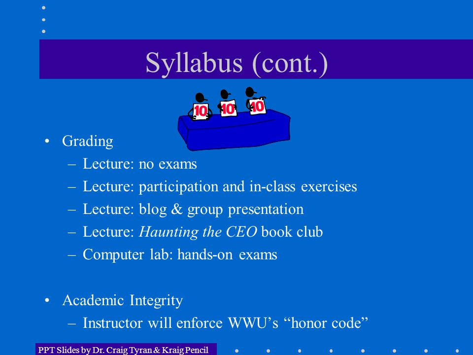 Syllabus (cont.) Grading –Lecture: no exams –Lecture: participation and in-class exercises –Lecture: blog & group presentation –Lecture: Haunting the