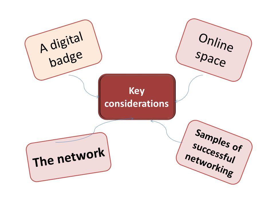 Online space Key considerations A digital badge The network Samples of successful networking