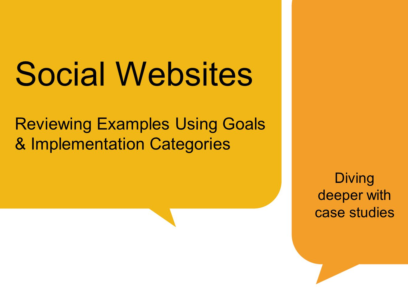 Social Websites Reviewing Examples Using Goals & Implementation Categories Diving deeper with case studies