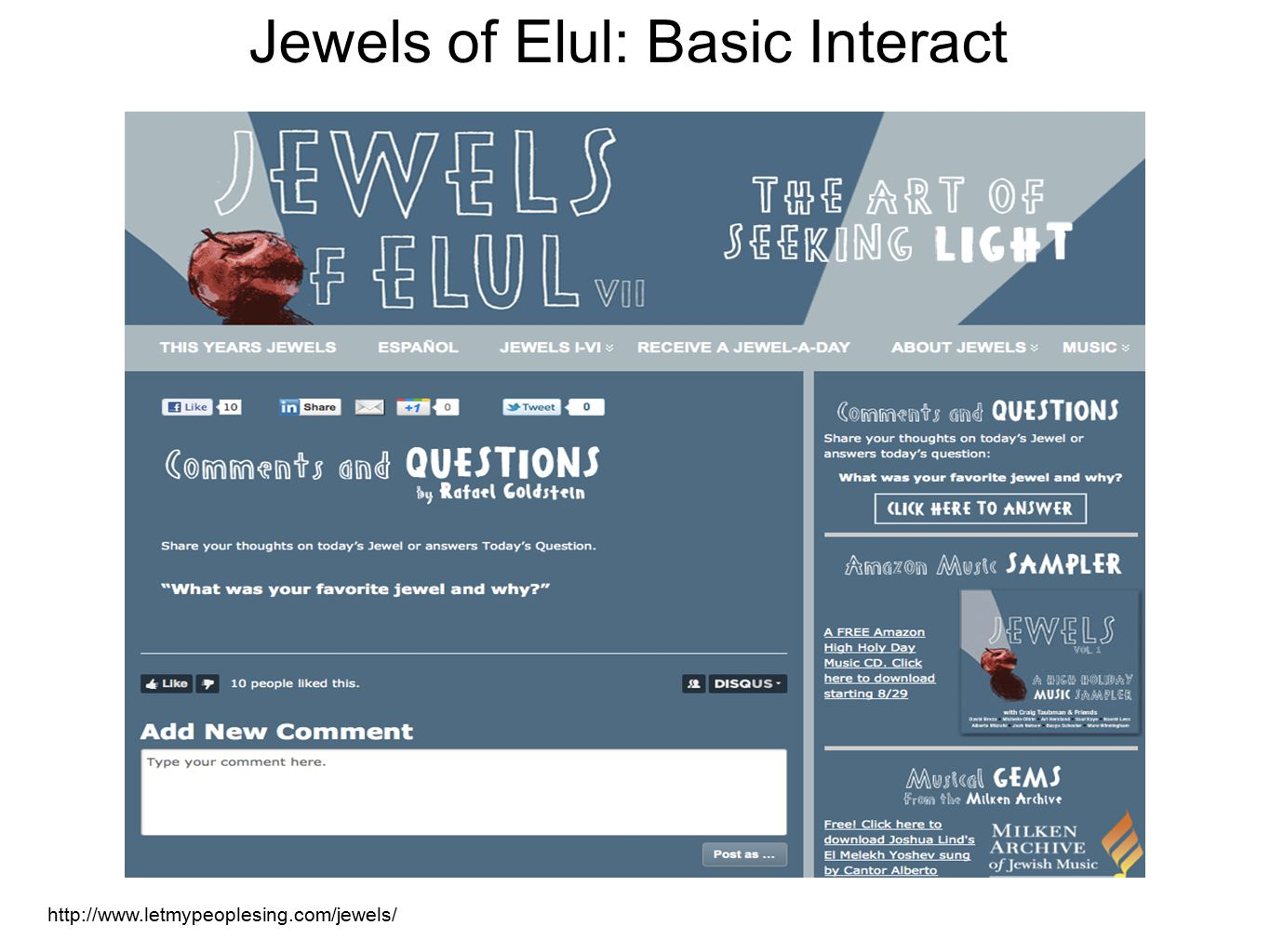 http://www.letmypeoplesing.com/jewels/ Jewels of Elul: Basic Interact