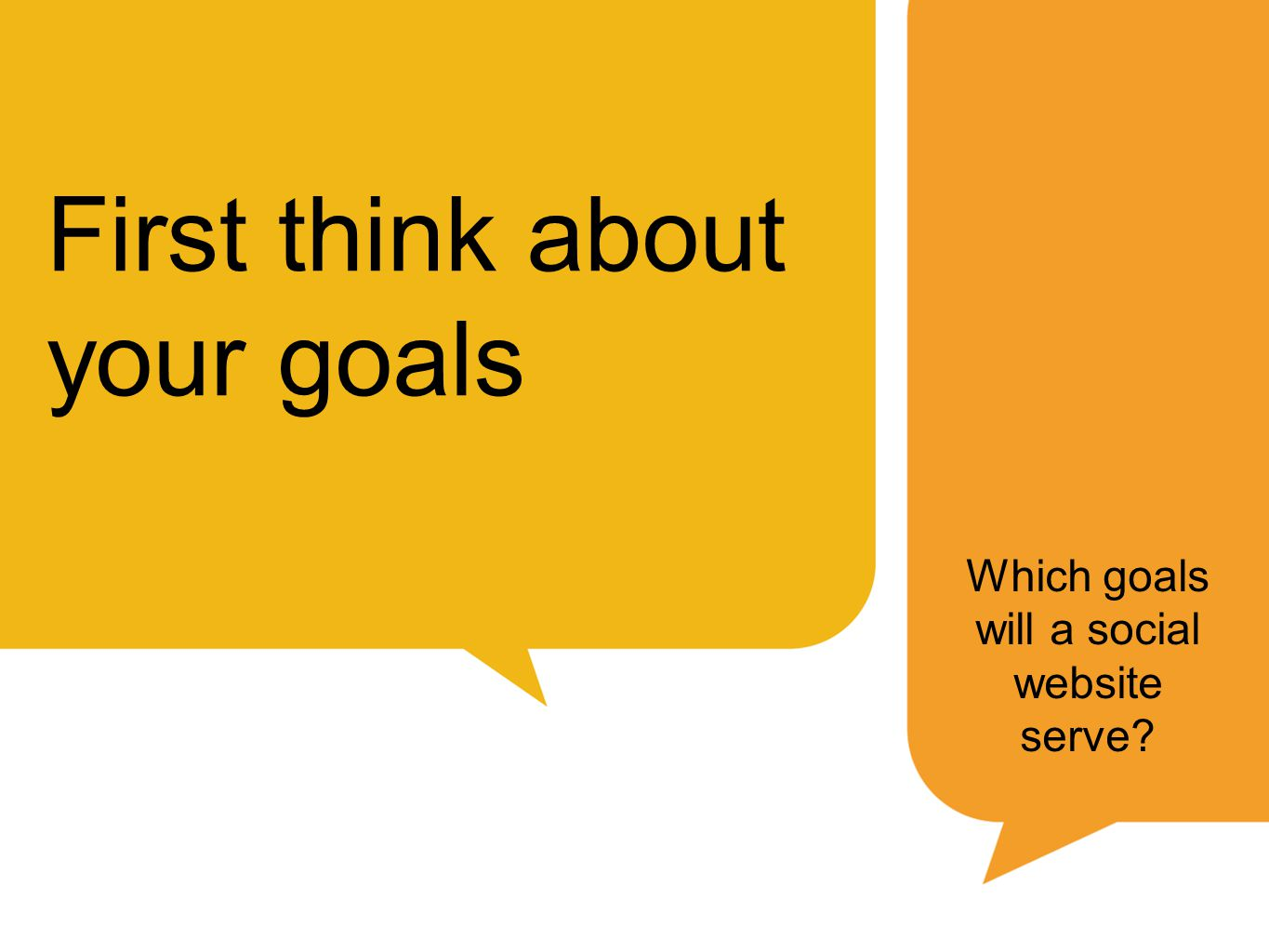 First think about your goals Which goals will a social website serve
