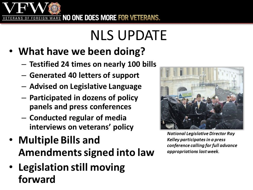 NLS UPDATE What have we been doing.