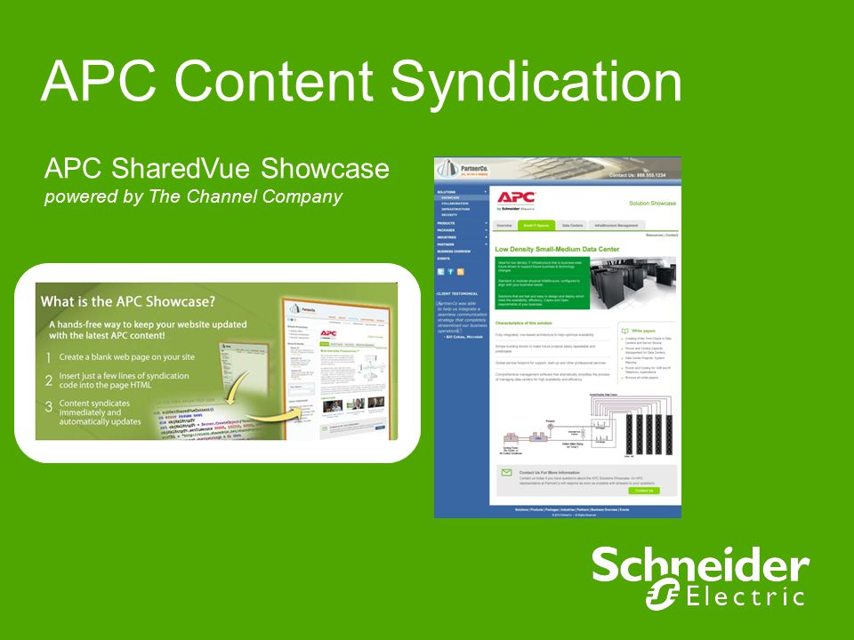 APC Content Syndication APC SharedVue Showcase powered by The Channel Company