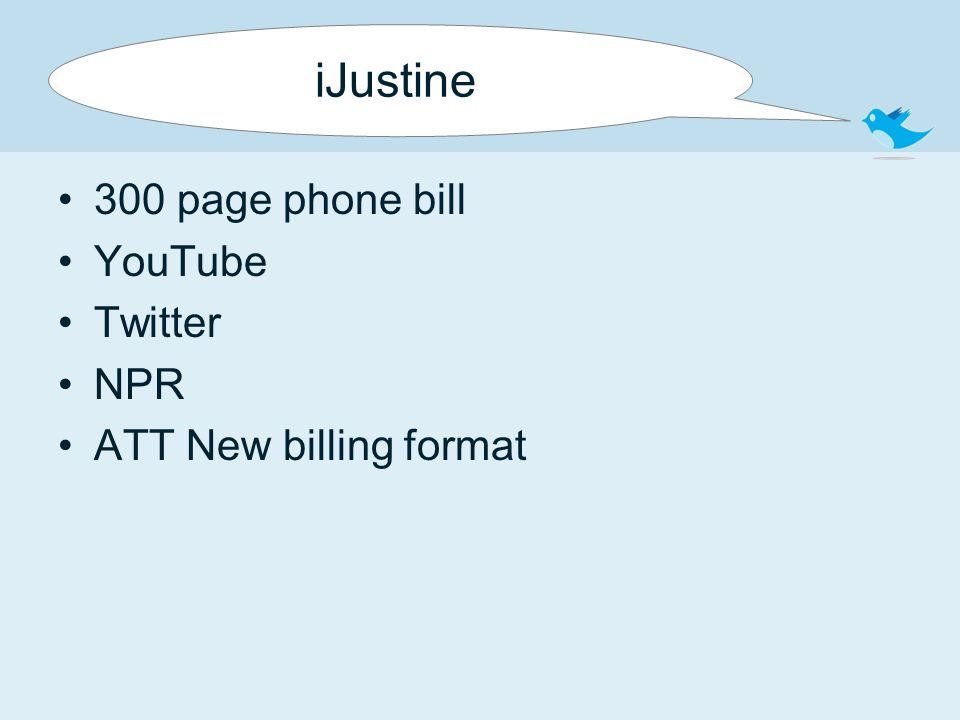 iJustine 300 page phone bill YouTube Twitter NPR ATT New billing format