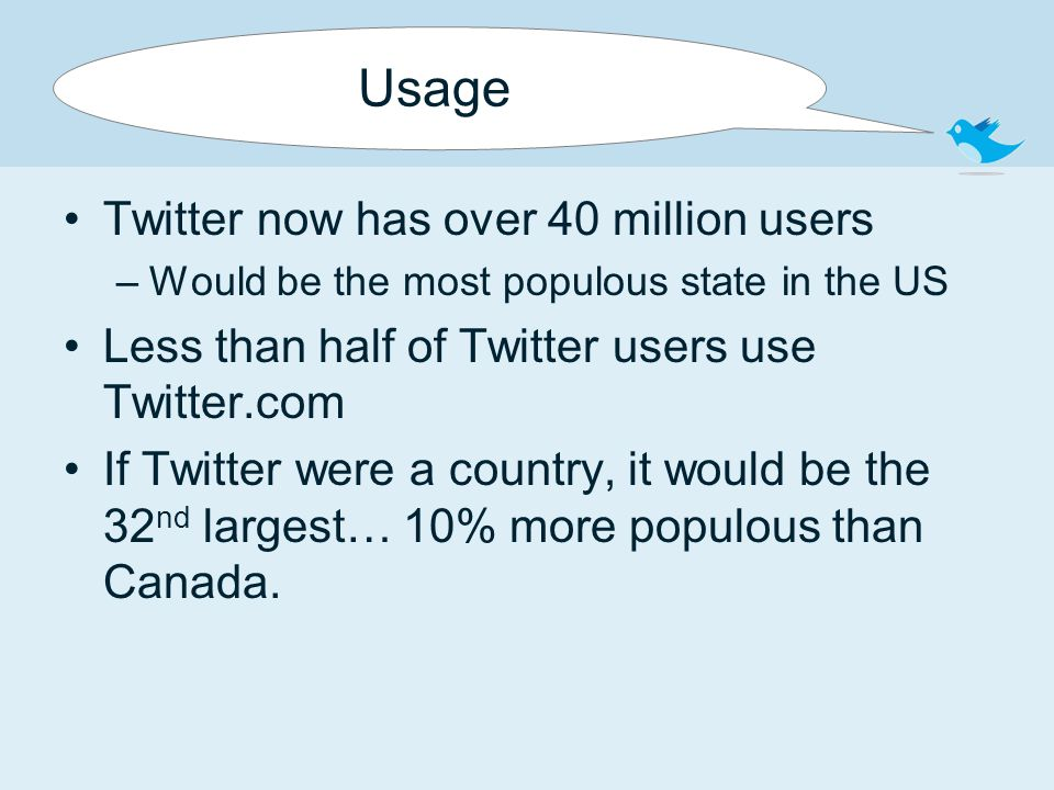 Usage Twitter now has over 40 million users –Would be the most populous state in the US Less than half of Twitter users use Twitter.com If Twitter were a country, it would be the 32 nd largest… 10% more populous than Canada.