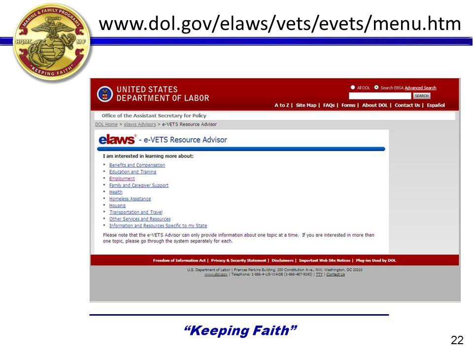 www.dol.gov/elaws/vets/evets/menu.htm 22