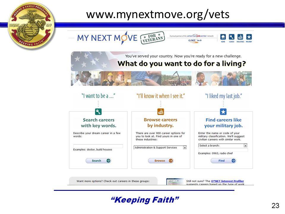 www.mynextmove.org/vets 23
