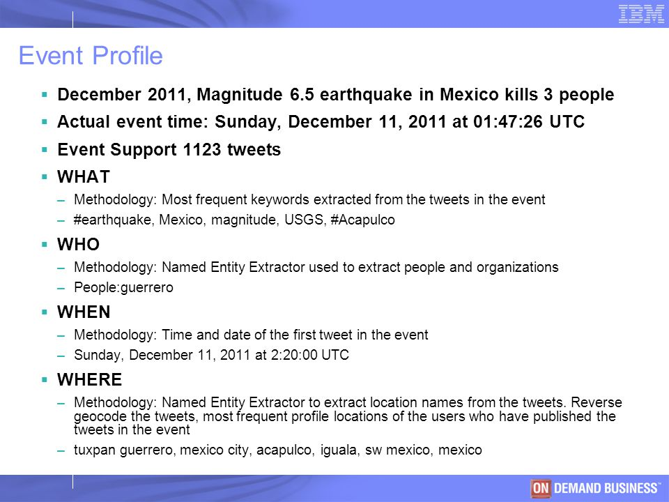 © 2003 IBM Corporation Event Profile  December 2011, Magnitude 6.5 earthquake in Mexico kills 3 people  Actual event time: Sunday, December 11, 2011