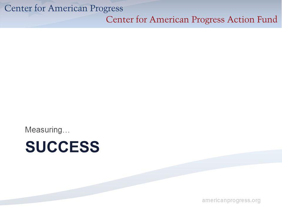 americanprogress.org SUCCESS Measuring…