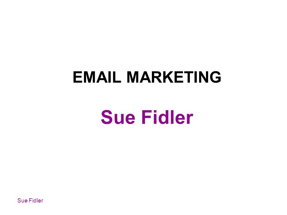 Sue Fidler EMAIL MARKETING Sue Fidler