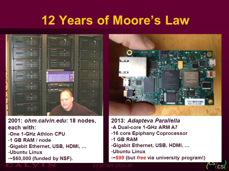 12 Years of Moore's Law CCSC:MW 2014 - 15 2013: Adapteva Parallella -A Dual-core 1-GHz ARM A7 -16 core Epiphany Coprocessor -1 GB RAM -Gigabit Ethernet, USB, HDMI, … -Ubuntu Linux -~$99 (but free via university program!) 2001: ohm.calvin.edu: 18 nodes, each with: -One 1-GHz Athlon CPU -1 GB RAM / node -Gigabit Ethernet, USB, HDMI, … -Ubuntu Linux -~$60,000 (funded by NSF).