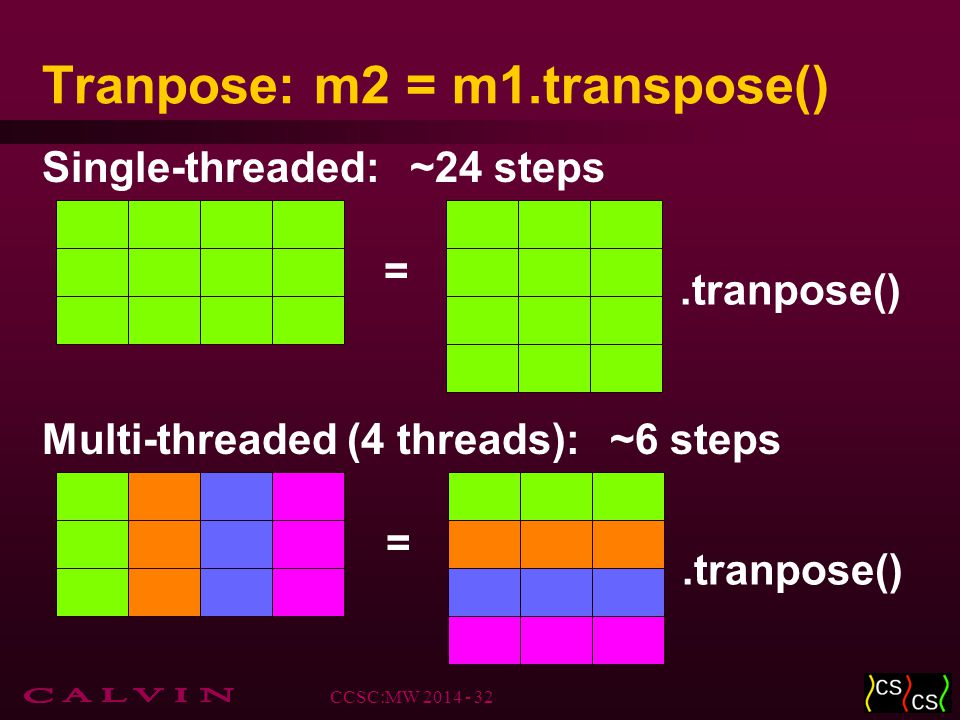 Tranpose: m2 = m1.transpose().tranpose() = Single-threaded: = Multi-threaded (4 threads):.tranpose() CCSC:MW 2014 - 32 ~24 steps ~6 steps