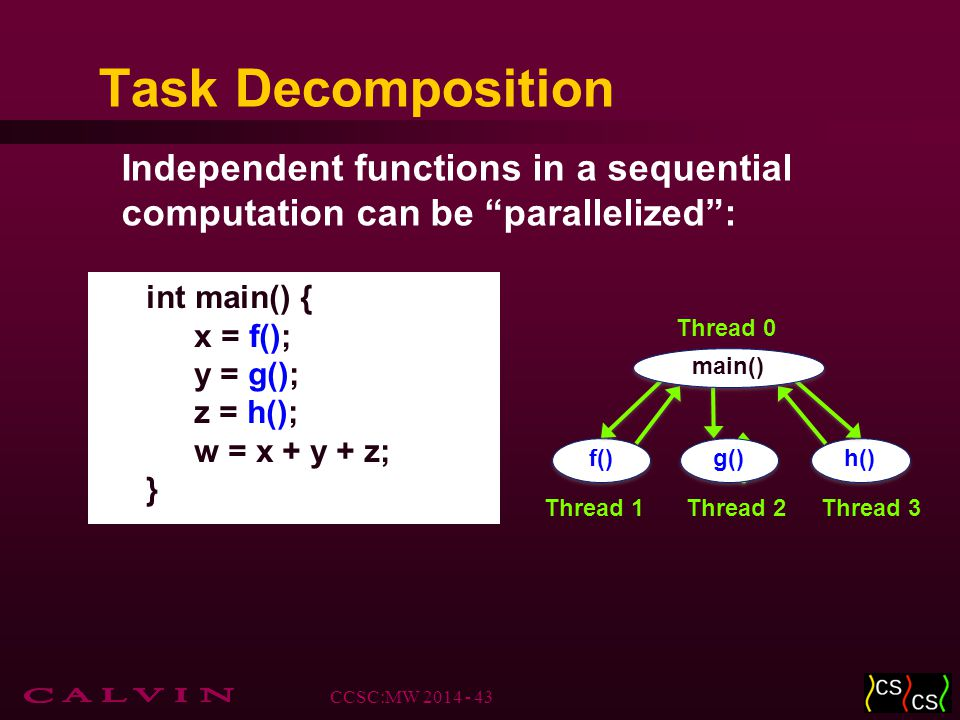 Task Decomposition Independent functions in a sequential computation can be parallelized : int main() { x = f(); y = g(); z = h(); w = x + y + z; } f() g() h() Thread 1Thread 2Thread 3 main() Thread 0 CCSC:MW 2014 - 43