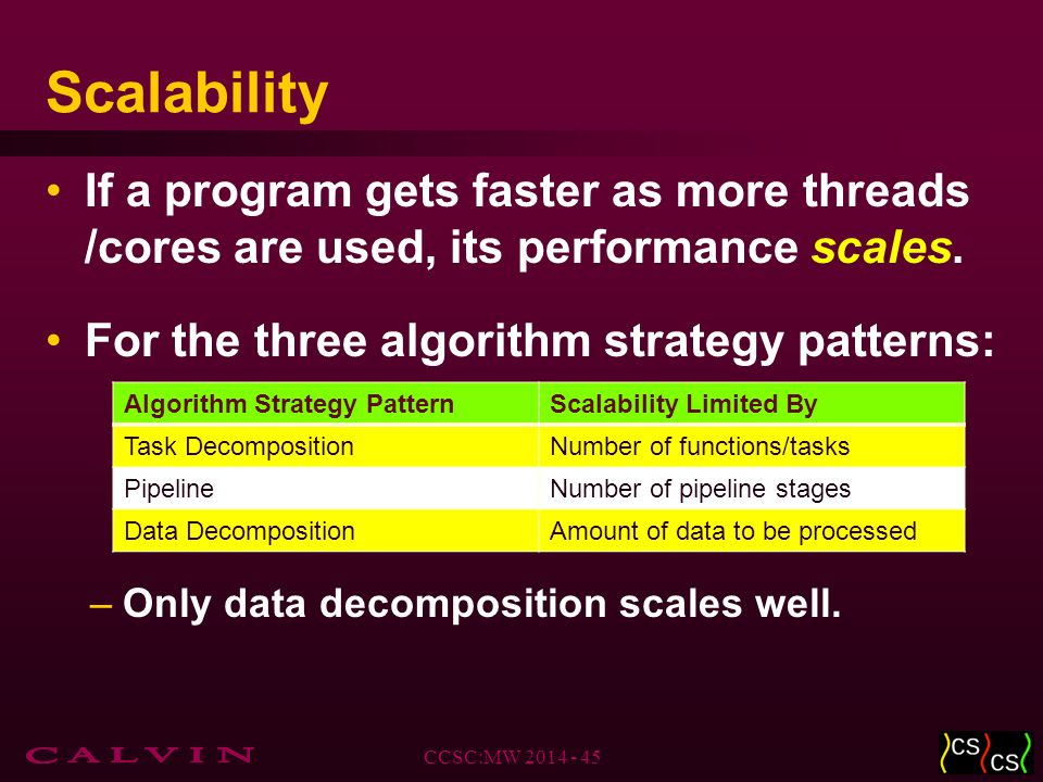 Scalability If a program gets faster as more threads /cores are used, its performance scales.