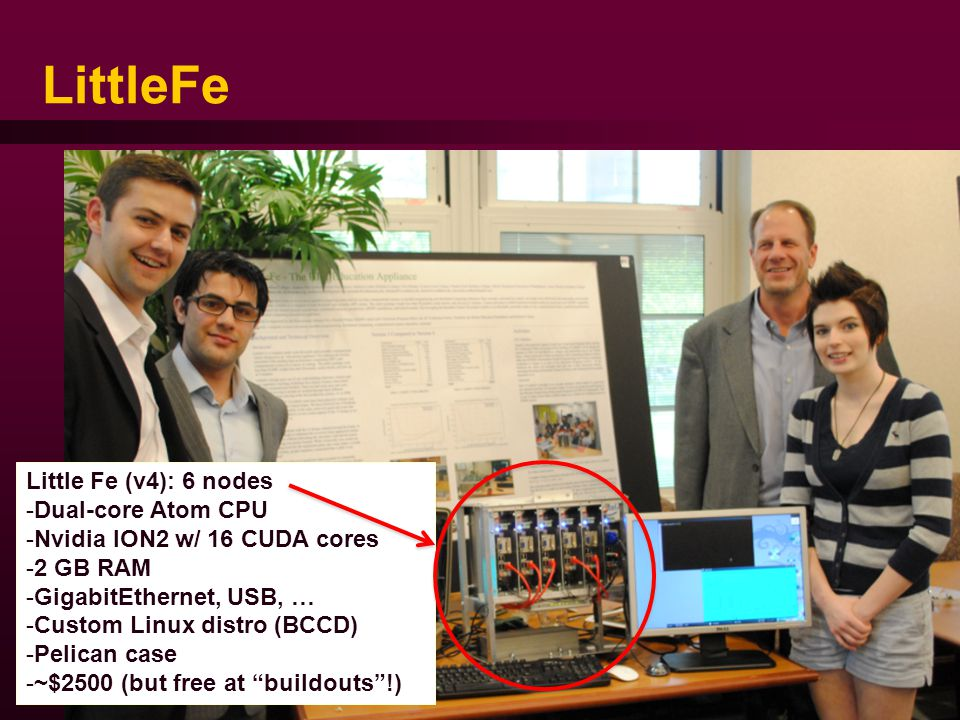 LittleFe SIGCSE 2014 - 49 Little Fe (v4): 6 nodes -Dual-core Atom CPU -Nvidia ION2 w/ 16 CUDA cores -2 GB RAM -GigabitEthernet, USB, … -Custom Linux distro (BCCD) -Pelican case -~$2500 (but free at buildouts !)