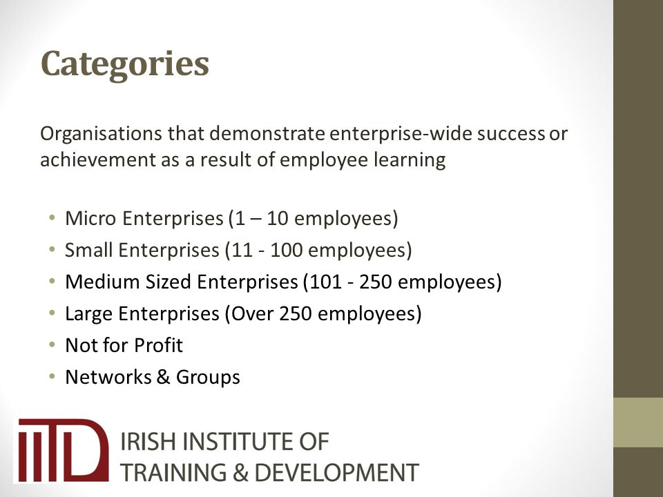 Categories Organisations that demonstrate enterprise-wide success or achievement as a result of employee learning Micro Enterprises (1 – 10 employees) Small Enterprises (11 - 100 employees) Medium Sized Enterprises (101 - 250 employees) Large Enterprises (Over 250 employees) Not for Profit Networks & Groups