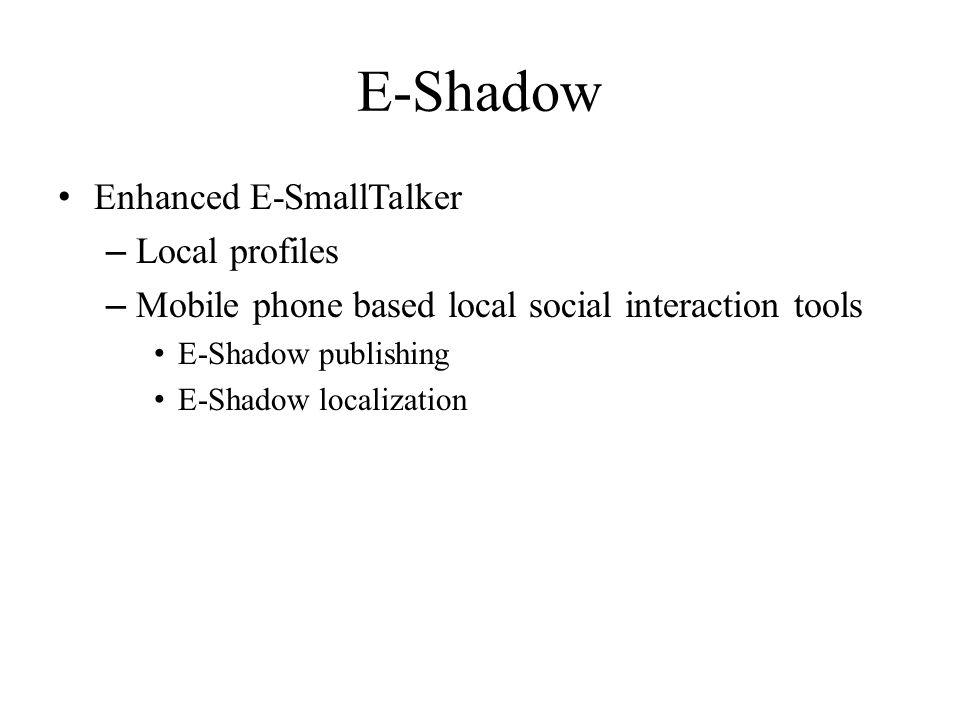 E-Shadow Enhanced E-SmallTalker – Local profiles – Mobile phone based local social interaction tools E-Shadow publishing E-Shadow localization