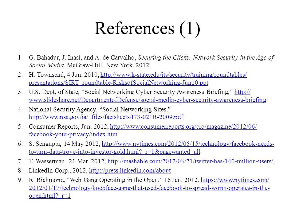 References (1) 1.G. Bahadur, J. Inasi, and A.