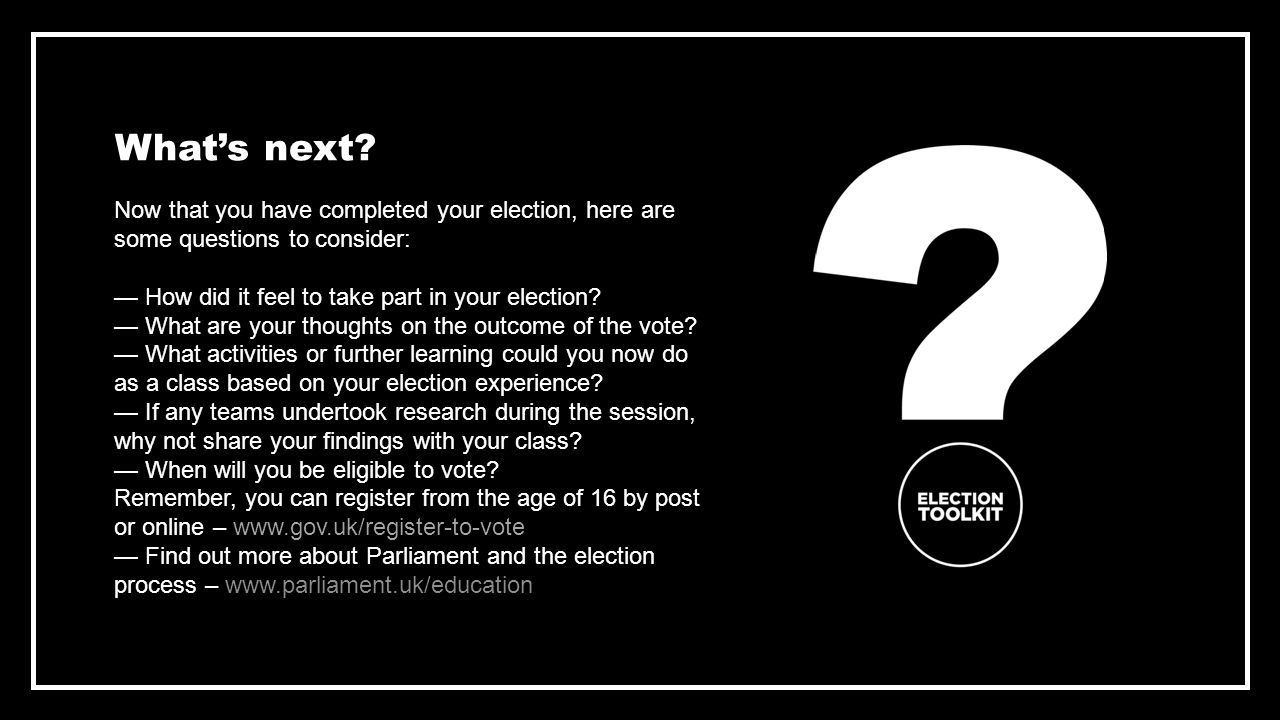 Now that you have completed your election, here are some questions to consider: — How did it feel to take part in your election.