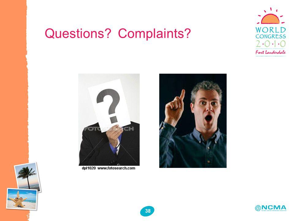 38 Questions Complaints