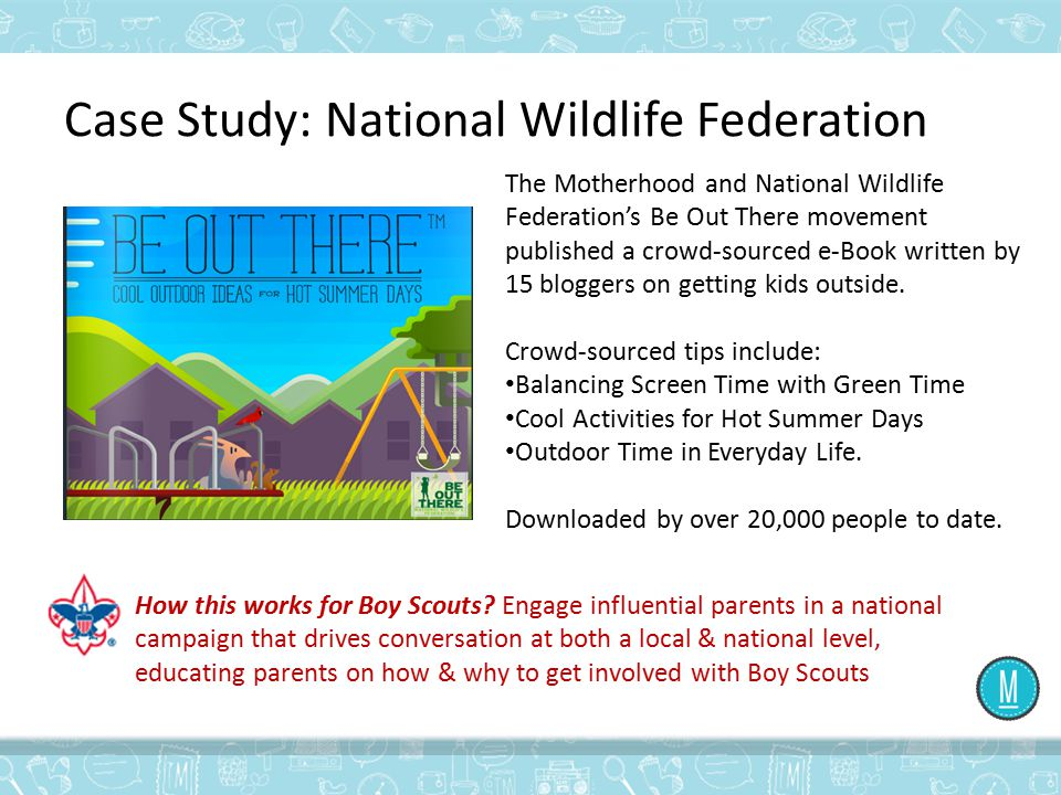 Case Study: National Wildlife Federation The Motherhood and National Wildlife Federation's Be Out There movement published a crowd-sourced e-Book writ