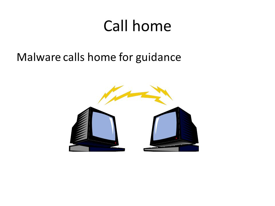Malware calls home for guidance Call home