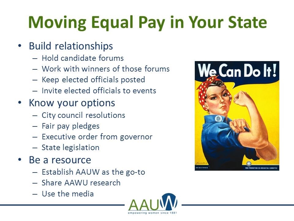 Moving Equal Pay in Your State Build relationships – Hold candidate forums – Work with winners of those forums – Keep elected officials posted – Invite elected officials to events Know your options – City council resolutions – Fair pay pledges – Executive order from governor – State legislation Be a resource – Establish AAUW as the go-to – Share AAWU research – Use the media